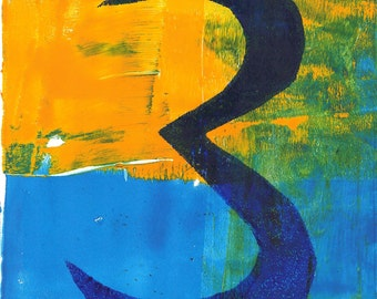 "number three 3 monoprint blue yellow monotype number print blue number print original print original art ""trois"""
