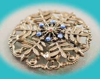 Vintage Silver Brooch Rhinestone and Silver Plated Brooch Vintage Jewelry
