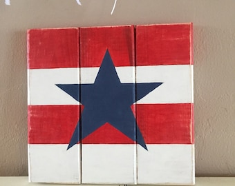 USA Star Rustic Wooden Sign