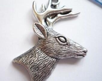 pendant deer, antique-silver-colour