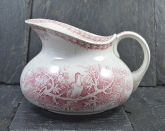 Antique French Country  red Ceramic Pitcher uc sarreguemines 1800s with birds and forest