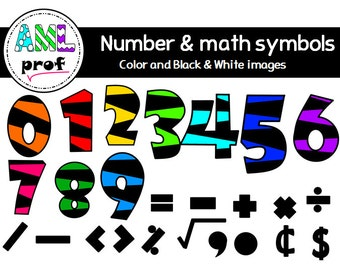 Striped numbers ans math symbols clipart 2