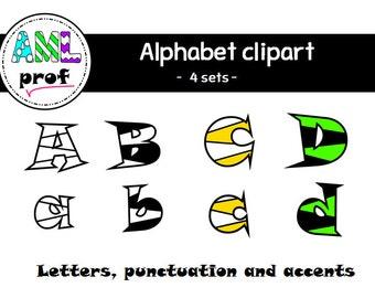 Alphabet  clipart (4 sets)