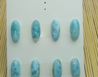 OO-PD-0201 top selling products Natural Larimar Cabochon(Dominican) Oval11*26MM 8pcs/set