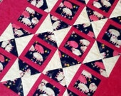 """Baby girl quilt with sheep and hourglass pattern. 36"""" x 43"""". Pink, white and navy. Baby quilt toddler quilt play mat"""