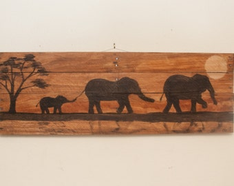Elephant painting Elephant decor Elephant art Nursery wall art Nursery wall decor Nursery decor Mantle art Wood wall art Pallet art family