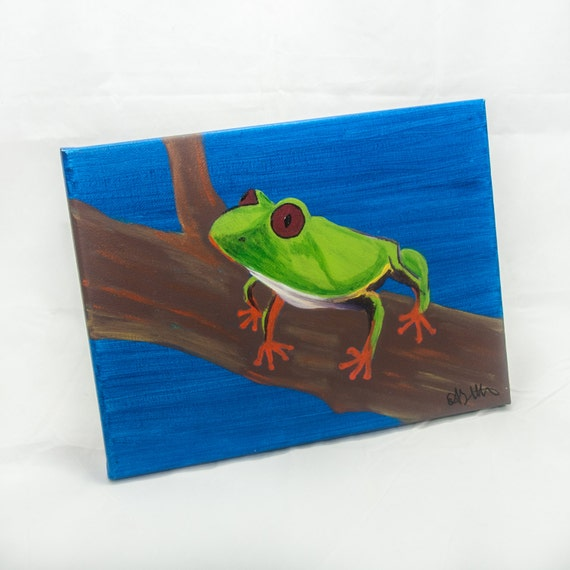 Frog painting tree frog frog art child room d cor by for Frog bedroom ideas