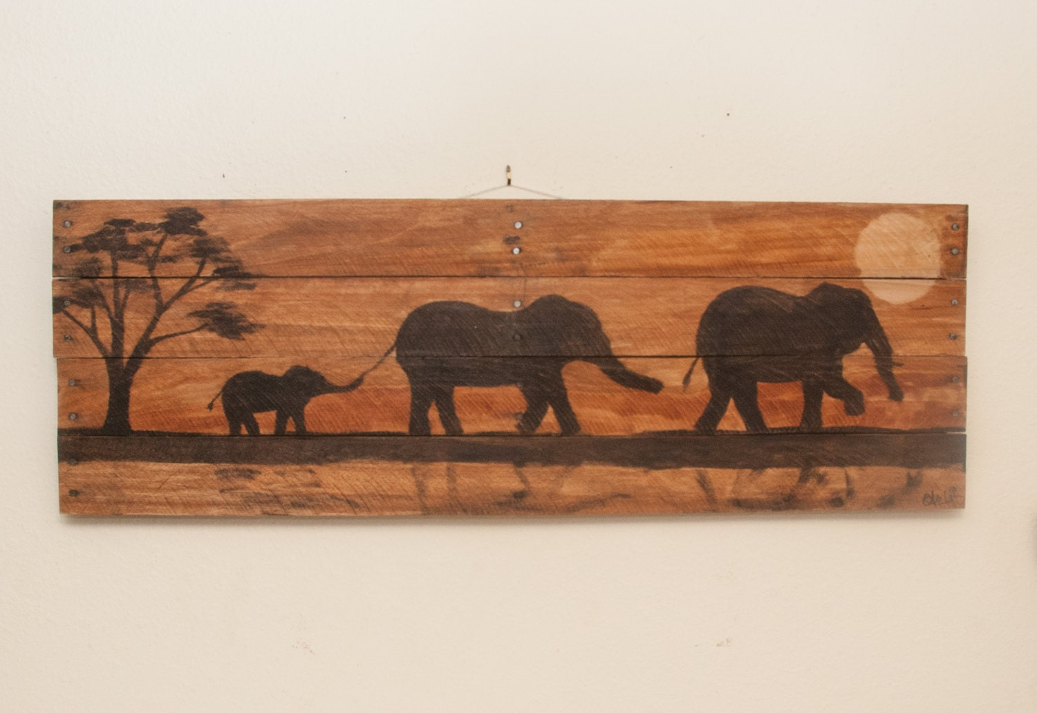 Elephant painting elephant decor elephant art nursery wall art for Mural on wood