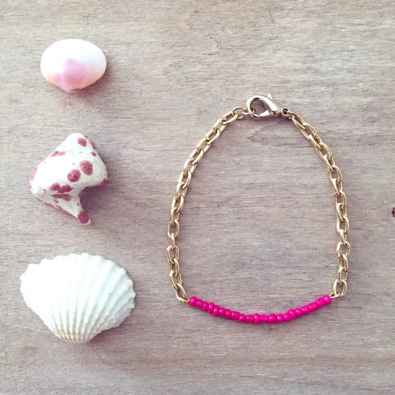 Mermaid Pink Seed Bead Bracelet