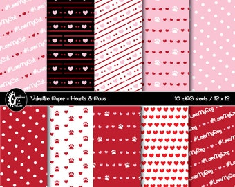 Dog Lovers Valentine Paper, Cat Lovers Valentine Paper, Dog Lovers Paper, Cat Lovers Paper, Background Paper, Instant Download