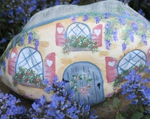 Painted fairy garden cottage rock, miniature gnome home, cottage garden stone, flower painting