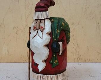 Jolly Sack Santa Primitive Folk Art Wood Carving