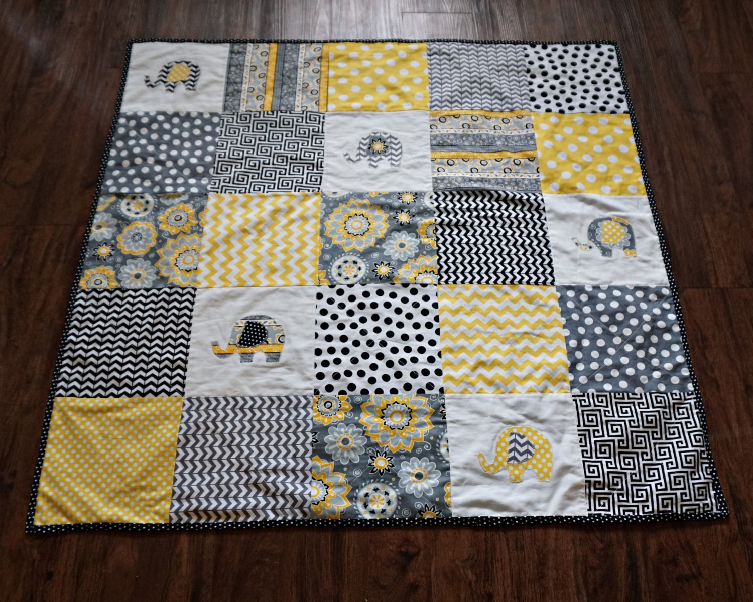 Baby Quilt Modern Quilt Elephant Quilt By Cozycuddlequilts