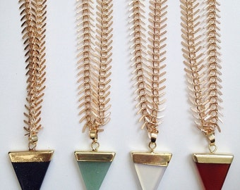 Gold Fishbone Crystal Geo Necklace