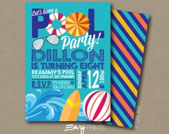Pool Party Birthday Invitation / Swimming Pool Party Invitation / Swimming Invitation / Pool Birthday / Swimming Pool Birthday