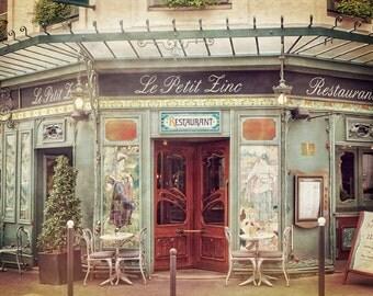 French Cafe, Paris Photography, Bistro Picture, Green Wall Decor, Wall Art, Paris Decor, Kitchen Art, Fine Art, Paris Print, 8 x 10 Print