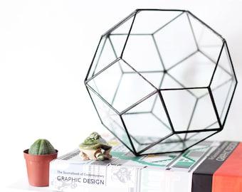 Large Glass Terrarium Container, Geometric Home Decor, Modern Indoor Planter, Moss Terrarium, Succulent Planter, Stained Glass Terrarium