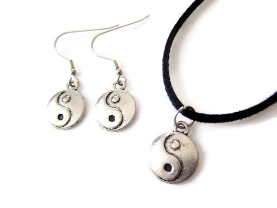 yin yang jewelry set yin yang necklace and by swirlofcolorshop