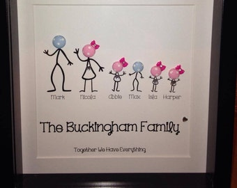 Personalised Family Button Picture / Frame
