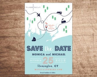Custom Map Save the Date Design