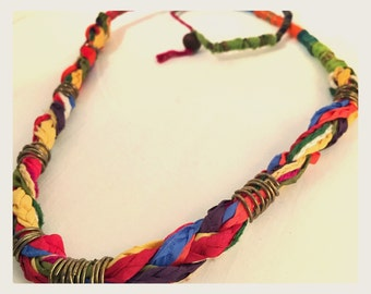Multicolor braided and wire wrapped thread necklace