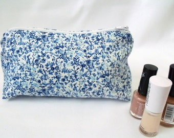 make up pouch, make up purse, cosmetic bag, zipped pouch, coin purse, blue floral fabric