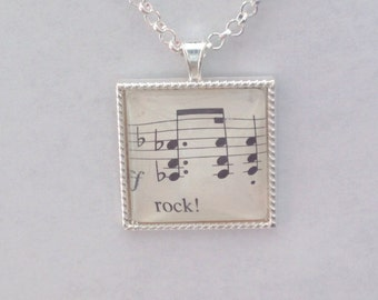 Rock! / sheet music - glass pendant necklace