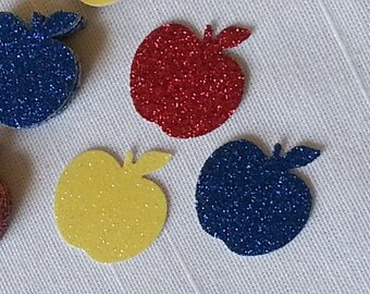 Snow White Red, Blue & Yellow Apple Birthday Party Table Confetti, 60 Pieces