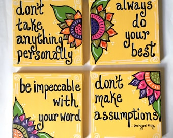 The Four Agreements (set of 4 6x6 inch canvases) hand painted, custom made