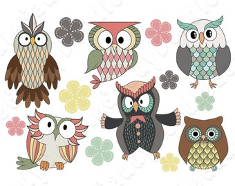 Owls Digital Clipart