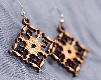 Laser Cut and Engraved Wood Earrings