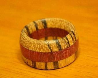 Handmade Zebrawood and Purpleheart ring.