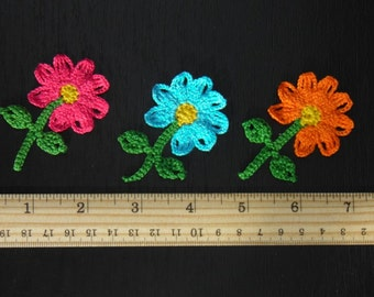 Set of 2 flowers applique  Handmade flowers Crocheted  flowers Multicolored flowers