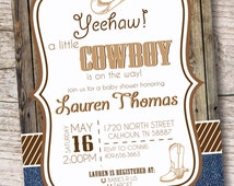 Cowboy Baby Shower Invitation - Country Rustic Party - Printable or Printed