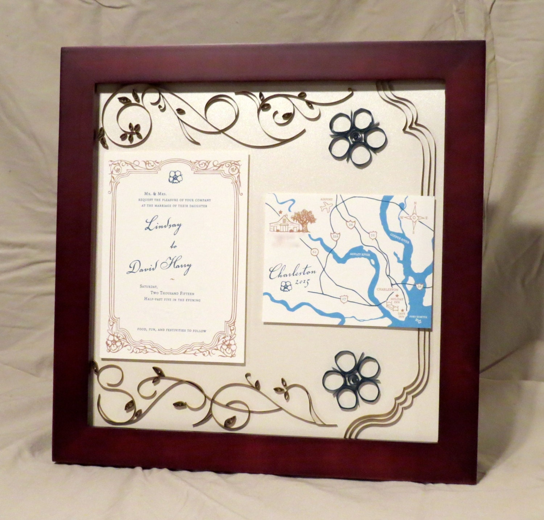 Custom Wedding Invitation Frame / Quilled Invitation Keepsake