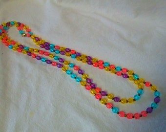 """Vintage Long Beaded Necklace Mid Century Gold tone clasp Japan 54"""" long Bright Colors For Summer!!"""