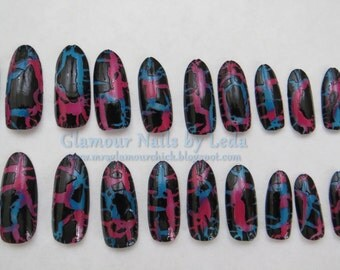Shatter polish nail art, Pink and Blue, multi color background, shattered nails, press on nails, cuspidal nail tips, almond nail tips, GNbL