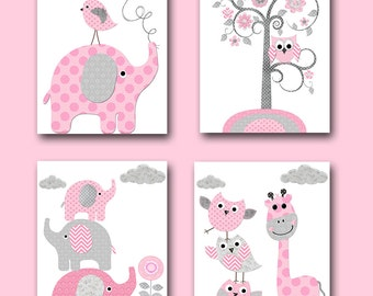Instant Download Print Playroom Art Printable Art Digital Download Pink Nursery Art Digital Art Baby Girl Nursery Print set of 4 8x10 11X14