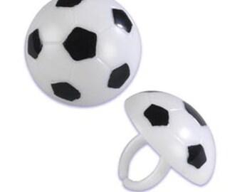 24 Soccer Ball Cupcake Topper Rings - SPO918