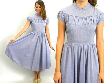 50s Blue Gingham Dress | Cotton Day Dress |  Wizard of Oz Gingham | Extra Small