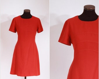 Vintage 60s Pumpkin Colored Swedish Simple Day Dress M