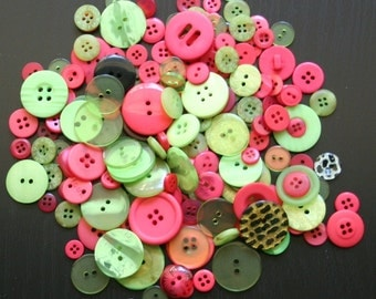 Bright Pink and Lime Green Button Mix