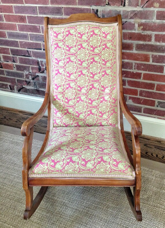 wooden rocking chair vintage antique upholstered pink green. Black Bedroom Furniture Sets. Home Design Ideas