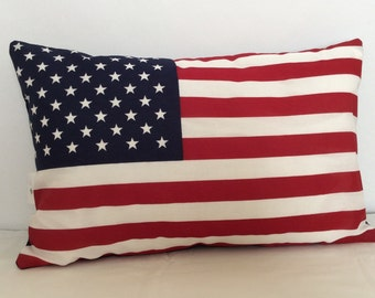 American Flag Pillow Cover, Red White and Blue Cushion Cover, Patriotic Pillow Cover, Independence Day Pillow, Fourth of July Decor,