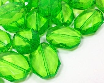 Lime Green Large Translucent Beads, faceted acrylic bead, LUSTER collection, green beads, green bracelet, wire bangle beads, lime green