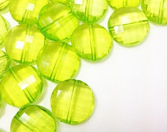 Key Lime Large Translucent Beads - 21mm Faceted circle round Bead - FLAT RATE SHIPPING - Jewelry Making - Wire Bangles
