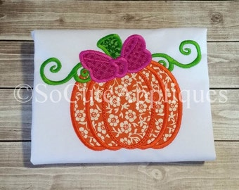 Embroidery design 4x4 5X7 6x10 Halloween applique, pumpkin applique, Pumpkin monogram, bow embroidery, Pumpkin embroidery, fall embroidery