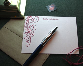 Custom Letterpress Stationery - 15 Personalized Notecards, Floral Design