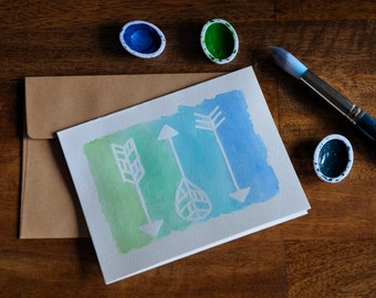 Set of Eight Watercolor Arrow Greeting Cards