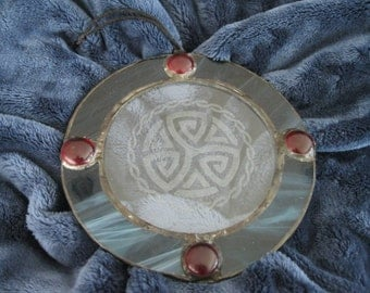 Handmade Celtic Stained Glass Suncatcher with Celtic Knotwork Engraving